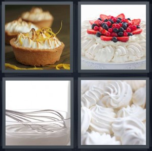 4 Pics 1 Word Answer 8 letters for small pies with burnt top, berries on dessert, whipping dessert, creamy top of cake