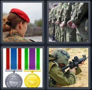 4 Pics 1 Word Answer 8 letters for woman wearing red beret, soldiers in line in uniform, gold medals, soldier shooting