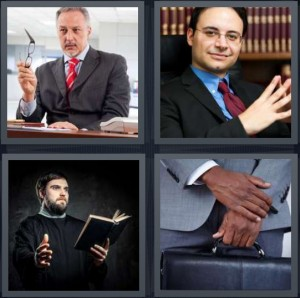 4 Pics 1 Word Answer 8 letters for leader man with glasses, lawyer in office with books, preacher man in collar with bible, businessman with brief case