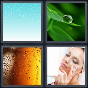 4 Pics 1 Word Answer 8 letters for rain drops on blue background, dew on leaves, condensation on beer, woman putting cream on face