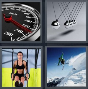 4 Pics 1 Word Answer 8 letters for speed gauge for car, magnets knocking together, woman on gymnast rings, man jumping skiing on mountain