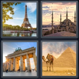 4 Pics 1 Word Answer 8 letters for Eiffel Tower in Paris, basilica with birds in Rome, Brandenburg gate in Berlin, camel and pyramids in Egypt