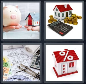 4 Pics 1 Word Answer 8 letters for piggy bank saving for house, house with coins, calculating to buy home, percent sign on red roof