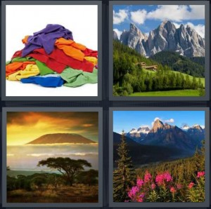 4 Pics 1 Word Answer 8 letters for pile of dirty laundry, nature clearing trees and rocks, desert with hill in distance, idyllic place with flowers and pines