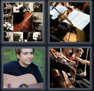 4 Pics 1 Word Answer 8 letters for violin with music, person playing flute, boy with guitar, orchestra playing music cellos