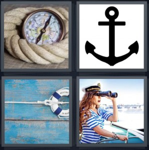 4 Pics 1 Word Answer 8 letters for compass with rope, black anchor, life preserver welcome on board, captain of ship with binoculars