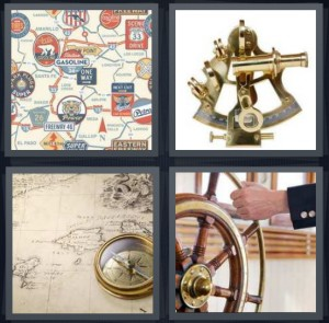 4 Pics 1 Word Answer 8 letters for map symbols road map, brass instrument for telling directions, compass on map, ship wheel captain