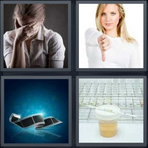 4 Pics 1 Word Answer 8 letters for sad woman with head in hands, woman saying no with thumbs down, film strip, diagnostic medical test