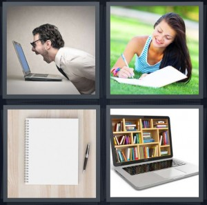 4 Pics 1 Word Answer 8 letters for man yelling at laptop, woman writing laying in grass, blank paper and pen, files in computer with keyboard