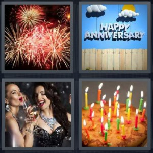 4 Pics 1 Word Answer 8 letters for fireworks in sky for 4th of July, happy anniversary sign decorations, women drinking champagne fancy, birthday cake with candles