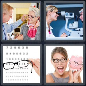 4 Pics 1 Word Answer 8 letters for doctor checking woman eyes, man getting eye test, glasses making letters clear, woman with lens and piggy bank