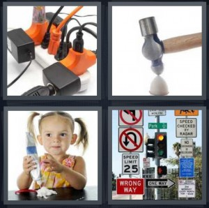 4 Pics 1 Word Answer 8 letters for jumble of electric cords, hammer cracking egg, girl with too much frosting, road signs at street light