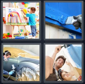 4 Pics 1 Word Answer 8 letters for kid fingerpaint at canvas, blue paint on wood door, man changing color of car, couple redoing room