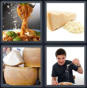 4 Pics 1 Word Answer 8 letters for pasta in red sauce with basil, grated cheese, Italian cheese rounds, man eating pasta with cheese