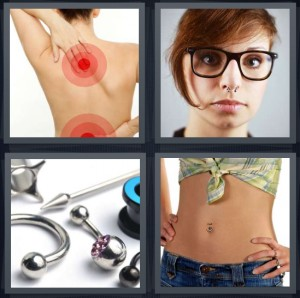 4 Pics 1 Word Answer 8 letters for woman with pain in bak, woman with nose ring, body jewelry, woman with belly button ring