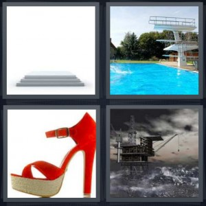 4 Pics 1 Word Answer 8 letters for stand to accept award, pool with tall diving board, red tall stiletto heel, oil rig in ocean