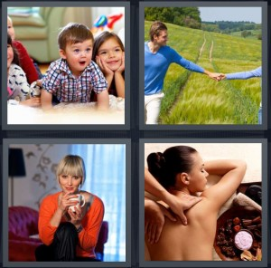 4 Pics 1 Word Answer 8 letters for excited kids at party, couple walking in green field, woman holding mug smiling, woman getting massage