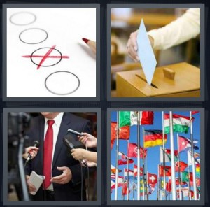 4 Pics 1 Word Answer 8 letters for choice marked with red x, putting vote in ballot box, speaker with red tie and microphones, international flags at United Nations