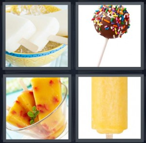 4 Pics 1 Word Answer 8 letters for frozen treat, lollipop with chocolate and sprinkles, fruit ice pop, frozen orange dessert