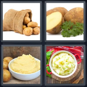 4 Pics 1 Word Answer 8 letters for spuds coming out of burlap bag, root vegetables with brown skin, mashed vegetables, spuds with chives