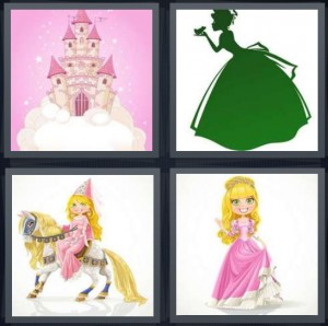 4 Pics 1 Word Answer 8 letters for fantasy castle pink with stars, green Cinderella kissing animal, pretend imaginary queen on horse, queen in pink dress