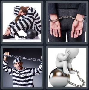4 Pics 1 Word Answer 8 letters for jailbird in black and white stripes, man in handcuffs, arrested man in uniform, cartoon of person with ball and chain