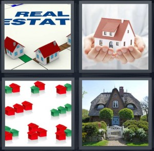 4 Pics 1 Word Answer 8 letters for real estate for sale, hands holding house, block pieces of game shaped like houses, home with front gate