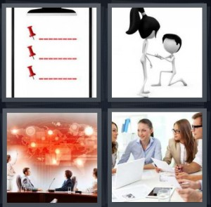 4 Pics 1 Word Answer 8 letters for list of things to do with thumb tacks, man and woman engagement, presentation at business with map, business meeting