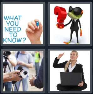 4 Pics 1 Word Answer 8 letters for what you need to frog holding curious punctuation, microphone asking person, woman with laptop and hand raised