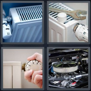 4 Pics 1 Word Answer 8 letters for heater in room, repairing broken heater, adjusting temperature on heater, inside engine of car under hood