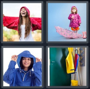 4 Pics 1 Word Answer 8 letters for woman in red coat dancing in rain, girl with jacket and umbrella, woman in jacket with hood, coat and umbrella on coat rack