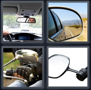 4 Pics 1 Word Answer 8 letters for man driving car, sideview mirror on car, motorcycle rider wearing leather gloves, mirror