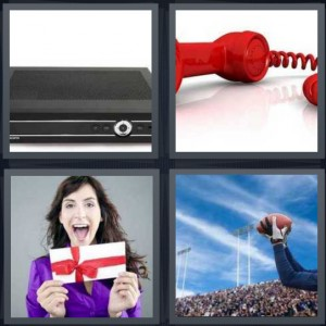 4 Pics 1 Word Answer 8 letters for voice recorder, red cord telephone, woman with gift card wrapped, football player catching ball