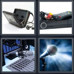 4 Pics 1 Word Answer 8 letters for voicemail machine taken apart, VCR and remote control, radio sound equipment, microphone on stage