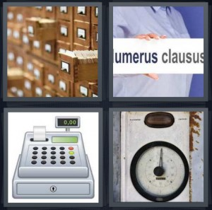4 Pics 1 Word Answer 8 letters for old fashioned library catalog, Latin phrase for class, machine for ringing up cash purchase, electric meter with dial