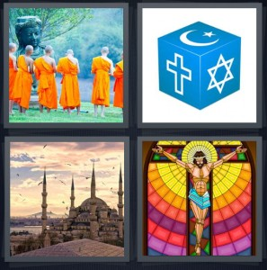 4 Pics 1 Word Answer 8 letters for Buddhist monks in orange robes, box with many religious symbols, church basilica with birds flying, stained glass window with Jesus