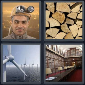 4 Pics 1 Word Answer 8 letters for miner with hard hat and lamp, cut wood stacked for fire, wind turbines electricity on water, library with many books
