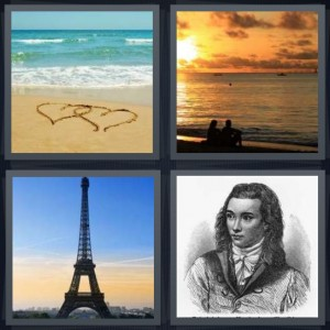 4 Pics 1 Word Answer 8 letters for hearts drawn on sand, couple sitting at ocean during sunset, Eiffel Tower in Paris, old fashioned pencil drawing of man