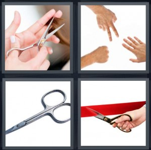 4 Pics 1 Word Answer 8 letters for cutting hair, paper rock game, shears for cutting, cutting ribbon at opening ceremony