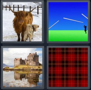 4 Pics 1 Word Answer 8 letters for hairy yak with horns, javelin thrower on field, castle on moat, plaid kilt pattern
