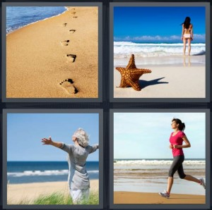 4 Pics 1 Word Answer 8 letters for footprints in sand on beach, starfish at ocean, joyful woman at beach with arms wide, woman jogging on beach