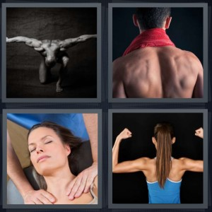4 Pics 1 Word Answer 8 letters for muscular man, back of man wearing towel, woman getting massage, strong woman with large biceps