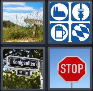 4 Pics 1 Word Answer 8 letters for sign for path made of wood, icons for directions, street sign with road name, stop sign