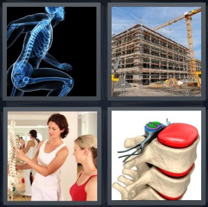 4 Pics 1 Word Answer 8 letters for Xray man running, building frame under construction, learning about spine in school, vertebrate close up