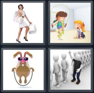 4 Pics 1 Word Answer 8 letters for woman in white dress shopping, cartoon of girls playing jumprope, bunny with glasses and rope, man cutting line