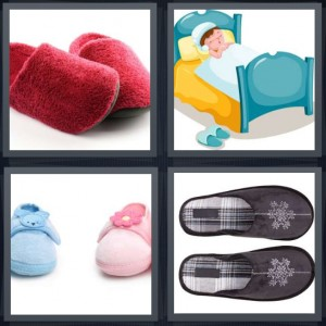 4 Pics 1 Word Answer 8 letters for fuzzy red house shoes, cartoon boy in bed sleeping, baby shoes pink and blue, house shoes with snowflake design