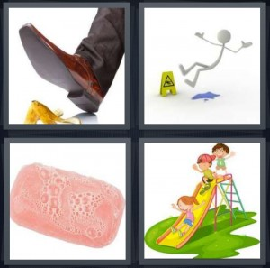 4 Pics 1 Word Answer 8 letters for man about to fall on banana, cartoon stick figure falling down, bath soap with bubbles, kids playing on slide in park