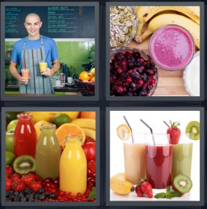 4 Pics 1 Word Answer 8 letters for boy working at healthy cafe, healthy fruit shake, freshly made juice in glass, fruit juice healthy