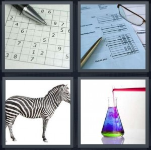 4 Pics 1 Word Answer 8 letters for sudoku puzzle on paper, utility bill due to you, zebra on white background, colorful liquid in science beaker