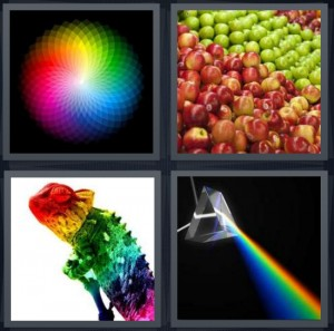 4 Pics 1 Word Answer 8 letters for rainbow color wheel, green and red apples, chameleon lizard with rainbow, prism refracting rainbow